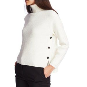 1 State Soft Side Button Turtleneck Sweater